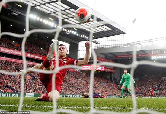 James Milner had to rescue Liverpool from conceding a late equaliser in the second-half with this superb goal-line clearance.