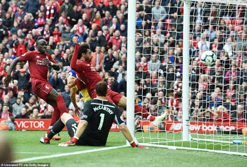 Mohamed Salah got back to goalscoring ways in added time at the end of the first half by tapping home from close range. Image credit - Liverpool FC