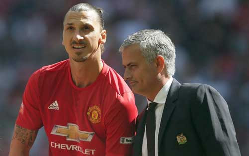 Manchester United manager Jose Mourinho and Zlatan Ibrahimovic. File image.
