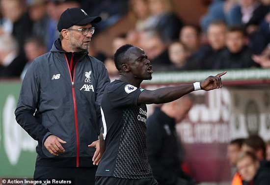 Sadio Mane reacted angrily after being substituted during Liverpool's 3-0 win over Burnley