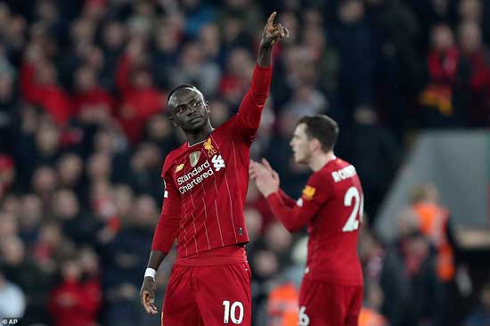 Sadio Mane celebrates his winner against Wolves. He is only the second player to be directly involved in 30 Premier League goals during 2019 (24 goals, 6 assists), after Jamie Vardy (34).
