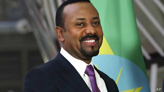 FILE - Ethiopian Prime Minister Abiy Ahmed is seen at European Council headquarters in Brussels, Belgium, Jan. 24, 2019.