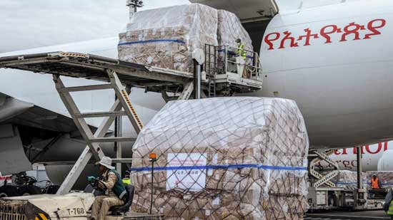 cargo flight containing over 6 million medical items including face masks, test kits, face shields and protective suits arrives in the capital Addis Ababa, Ethiopia Sunday, March 22, 2020. The supplies arriving from Guangzhou, China for fighting the spread in Africa of the COVID-19 coronavirus were donated by the Jack Ma Foundation and Alibaba Foundation and will be distributed from Ethiopia to countries throughout Africa. (AP Photo/Mulugeta Ayene)