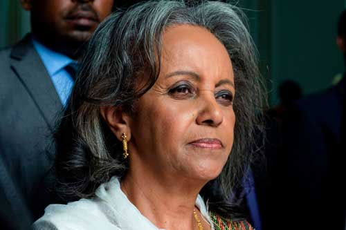 Sahle-Work Zewde leaves Parliament after being elected Ethiopia's first female president, in Addis Ababa, on Thursday. (Eduardo Soteras/AFP/Getty Images)