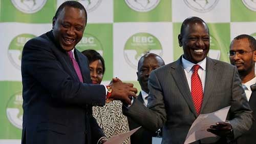 File image – President Uhuru Kenyatta celebrates his now annulled victory.