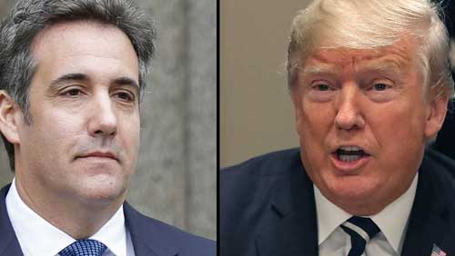 File image - Michael Cohen (L) and President Donald Trump