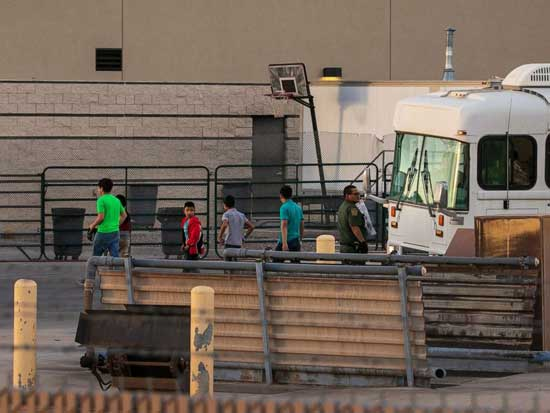Boys are dropped off at the Border Patrol station in Clint, Texas, July 4, 2019.