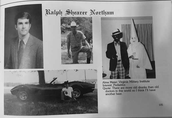 This image shows Virginia Gov. Ralph Northam's page in his 1984 Eastern Virginia Medical School yearbook. The page shows a picture of a person in blackface and another wearing a Ku Klux Klan hood next to different pictures of the governor.