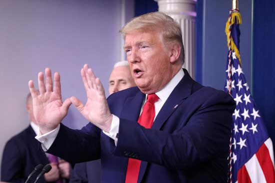 U.S. President Donald Trump addresses the daily coronavirus task force briefing at the White House in Washington, U.S., April 3, 2020. REUTERS/Tom Brenner/File Photo