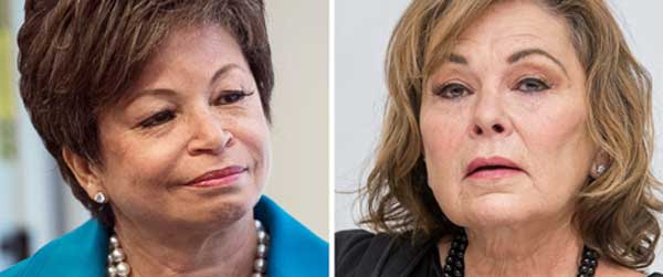'Roseanne' canceled after Roseanne Barr's racist tweet about Valerie Jarrett (R). ABC news photo.