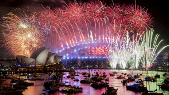Fireworks explode over the Sydney Harbour during New Year's Eve celebrations in Sydney, Australia, Jan. 1, 2019.