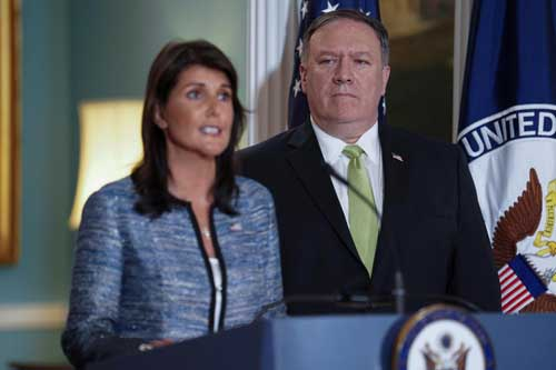 U.S. Secretary of State Mike Pompeo and U.S. and US Ambassador to the United Nations Nikki Haley