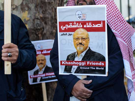 Protesters outside the Saudi Arabian Embassy in London in October 2018 demonstrate against the killing of journalist Jamal Khashoggi. On Monday, five people were sentenced to death for the killing, and three others received prison sentences. Jack Taylor/Getty Images