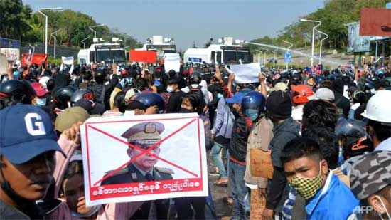 Protesters opposed to the military coup block the railway between Yangon and the southern city of Mawlamyine, Myanmar February 16, 2021 . CNA photo