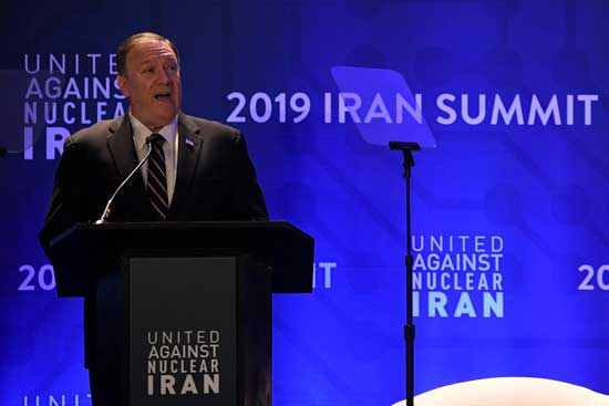 U.S. Secretary of State Mike Pompeo speaks during the United Against Nuclear Iran Summit on the sidelines of the United Nations General Assembly in New York City, U.S. September 25, 2019. REUTERS/Darren Ornitz