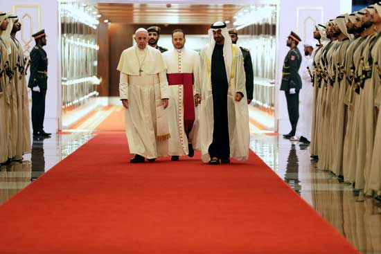 Pope arrives in UAE for historic Gulf visit, condemns Yemen war