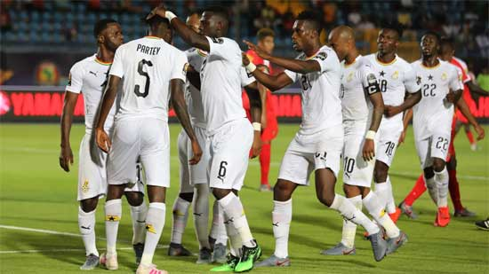 File image - Black Stars players celebrate their 2-0 win over Guinea Bissau