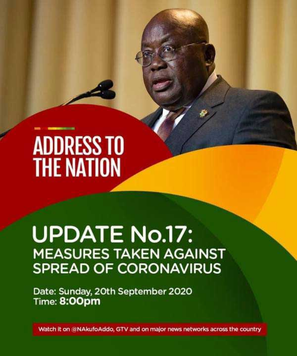 Full Text: Address To The Nation By The President Of The Republic, Nana Addo Dankwa Akufo-Addo, On Updates To Ghana's Enhanced Response To The Coronavirus Pandemic (Update No. 17)