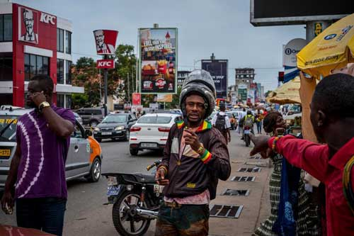Street salesmen in Accra, Ghana's capital. The country is likely to have one of the world's fastest-growing economies this year.