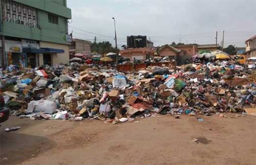 File image - A June 29, 2016, picture of piled up thrash at the Kaneshie Market in Accra.