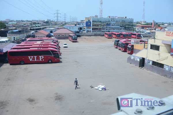 A deserted transportation hub in Accra following the lockdown. Image credit – Ghanaian Times