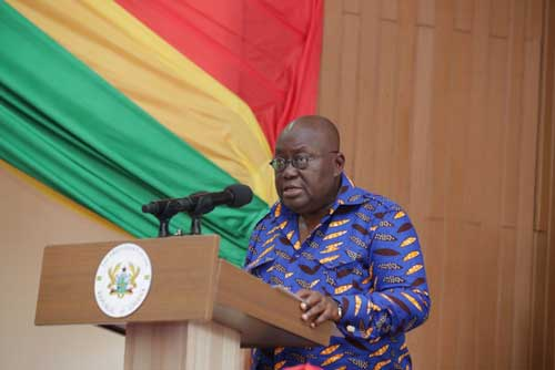 President Akufo-Addo speaking at the National TVET Conference.