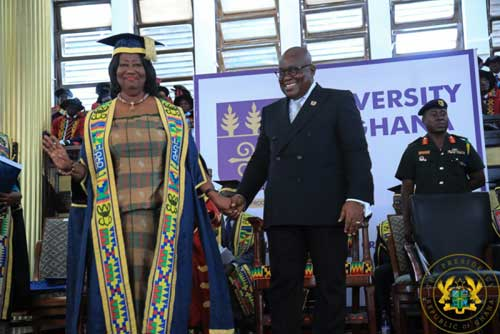 President Akufo-Addo with Mrs Mary Chinery-Hesse, Chancellor of University of Ghana