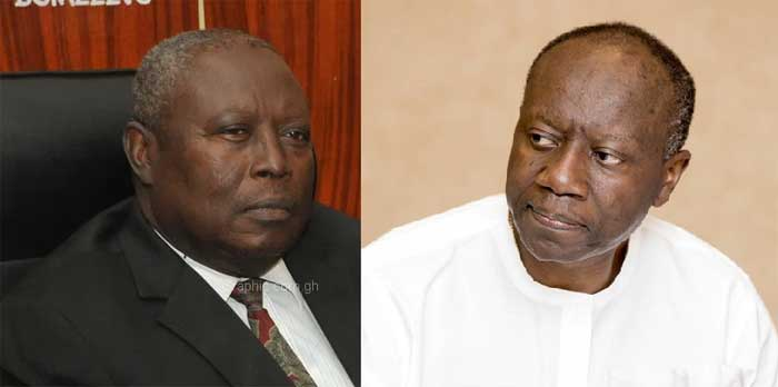 Former Special Prosecutor Martin Amidu (L) and Minister of Finance, Mr Ken Ofori Atta.
