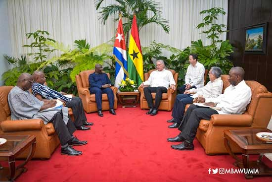 Dr Mahamudu Bawumia in a bilateral talks with the President of Cuba, Miguel Diaz-Canel