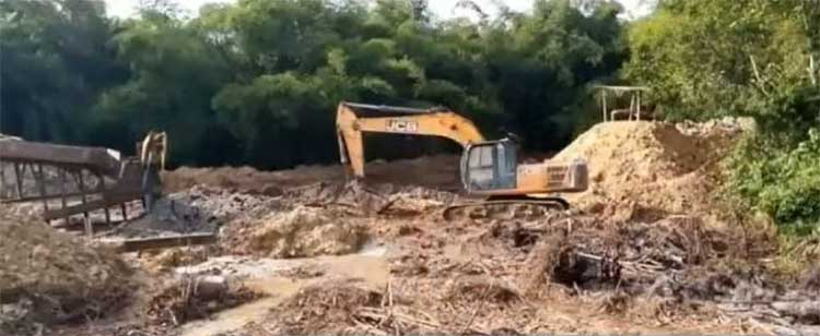 A screen grab image from the video showing some of the activities of the illegal miners.