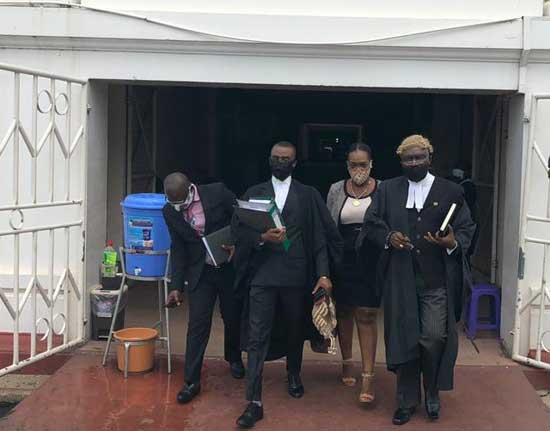 Gloria Fiadzi, the Executive Secretary of GIBA and lawyers of GIBA leaving the Supreme Court. Image credit - graphiccomgh