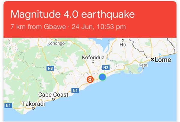 Magnitude 4.0 earthquake hits Accra and surrounding areas. Image credit - graphiccomgh