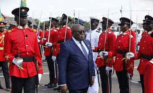 President Nana Addo Dankwa Akufo-Addo inspecting a guard of honour mounted by the graduates at the ceremony in Accra. Picture: Samuel Tei Adano