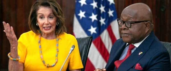 U.S. House Speaker Nancy Pelosi addresses Ghana's parliament