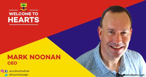 Mark D. Noonan appointed as Chief Executive Officer of Accra Hearts of Oak. Image credit - @heartsofoakgh