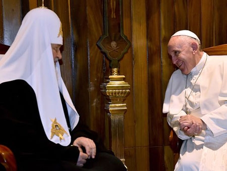 Pope Francis met Friday with Patriarch Kirill in the first-ever papal meeting with the head of the Russian Orthodox Church, an historic development in the 1,000-year schism that divided Christianity. The meeting took place at Havana's airport.