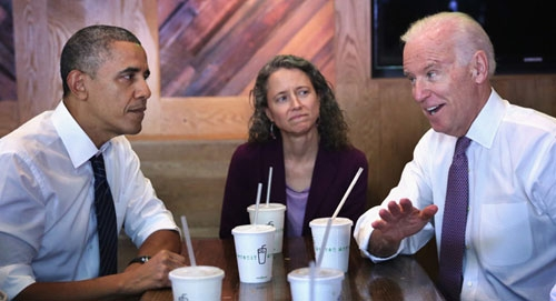 File - President Obama (L) and VP Joe Biden (R) having lunch at Shake Shack in this undated image.