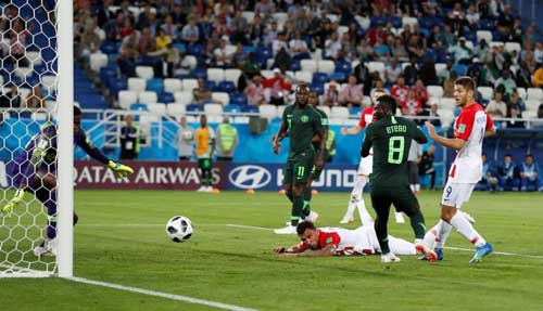 Nigeria's Oghenekaro Etebo (8) scores an own goal and the first for Croatia in their Group D opener played on Saturday, June 16, 2018, Kaliningrad, Russia. Reuters photo