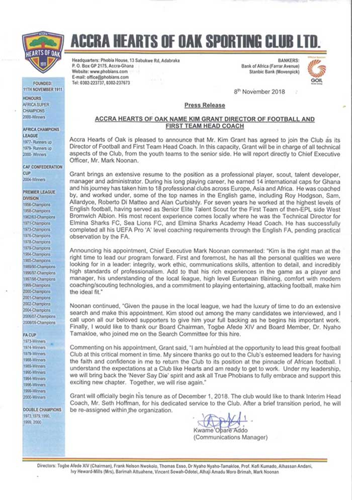 Press Release: Accra Hearts of Oak Name Kim Grant Director of Football and First Team Head Coach