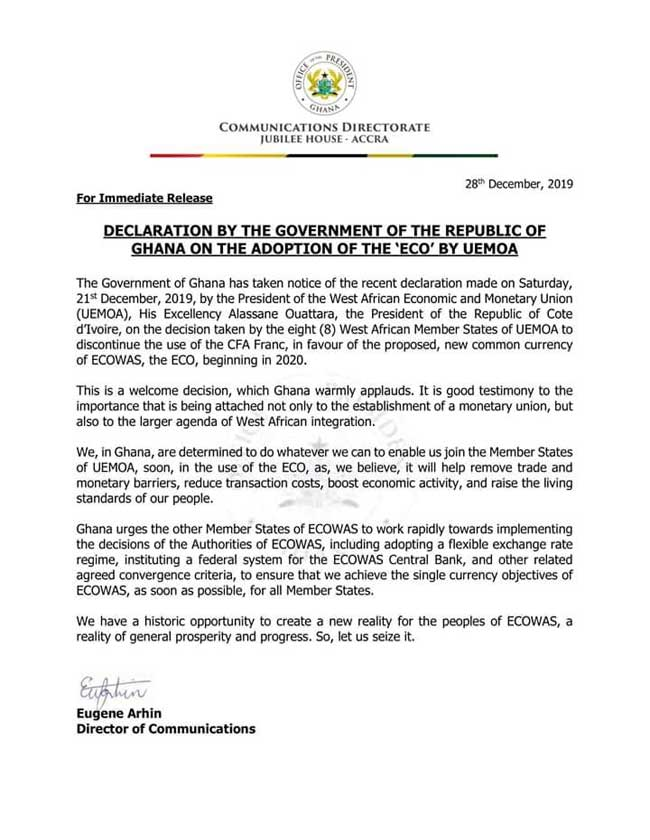 Declaration By The Government Of The Republic Of Ghana On The Adoption Of The 'ECO' By UEMOA