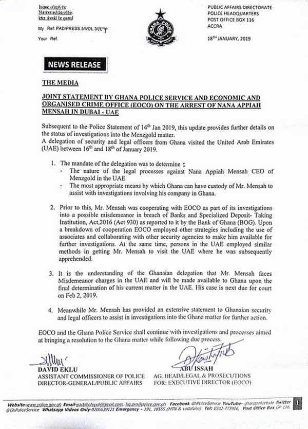 Joint Statement by Ghana Police And EOCO on The Arrest of Nana Appiah Mensah in Dubai