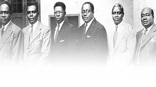 Heroes of Ghana's Independence Struggle: the Big Six (B6) from Left to Right: Dr. Kwame Nkrumah, Mr. Emmanuel Obetsebi-Lamptey, Dr. Ebenezer Ako-Adjei, Dr. Edward Akuffo-Addo, Dr. J. B. Danquah, Mr. William Ofori Atta. Photo credit - Krinsol Ecotours